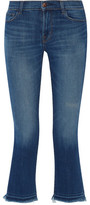 J Brand Selena Mid-Rise Cropped Frayed Bootcut Jeans