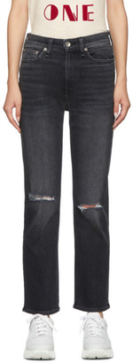 Rag & Bone Black Nina High-Rise Ankle Cigarette Jeans