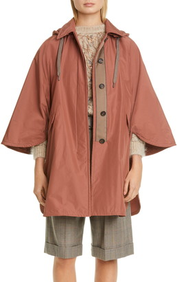 Brunello Cucinelli Monili Trim Water Resistant Taffeta Hooded Poncho