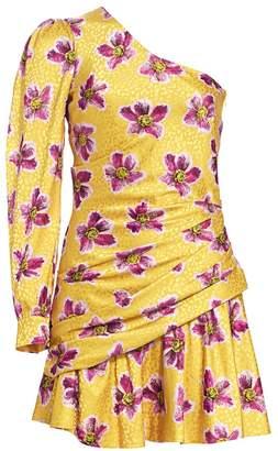 Borgo de Nor Christina Floral One-Sleeve Side Ruche Mini Dress