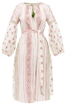 D'Ascoli Amangansett Belted Floral-print Cotton Dress - Red Print