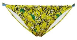 Diane von Furstenberg Halle Lemon-print Bikini Briefs - Yellow Multi