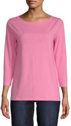 ST. JOHN'S BAY Womens Boat Neck Long Sleeve T-Shirt