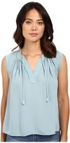 Rebecca Taylor Sleeveless Silk Double Georgette Tie Top