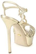 Sergio Rossi Vague Nappa Silk Swarovski Crystal-Coated T-Strap Sandals