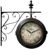 Yosemite Home Decor 16 in. Double Sided Iron Wall Clock in Black Frame