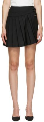 Coperni Black Asymmetric Mini Kilt Skirt