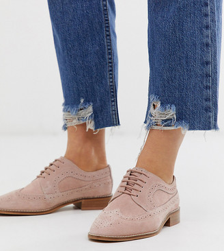 Asos Design DESIGN Wide Fit Mai Tai leather brogues in blush-Pink