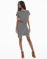White House Black Market Cap-Sleeve Stripe Wrap Skirt Dress