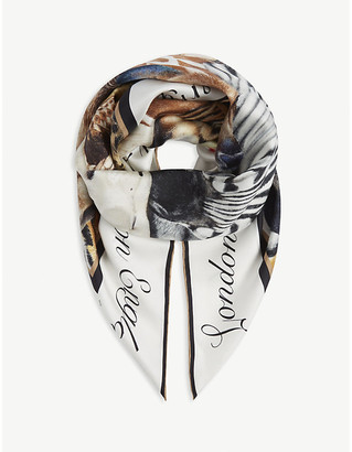 Burberry Animalia and logo print square silk scarf
