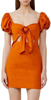 Significant Other Solace Tie Bodice Linen Blend Minidress