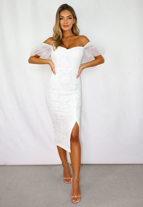 Missguided Lace Organza Puff Sleeve Midi Dress
