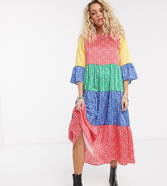 Twisted Wunder midaxi smock dress in color block