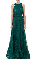 Lanvin WOMEN'S TIERED FLORAL LACE GOWN-GREEN SIZE 36 FR