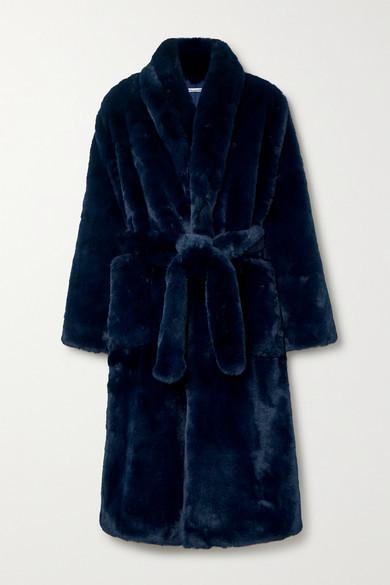 Reformation Hudson Belted Faux Fur Coat - Navy