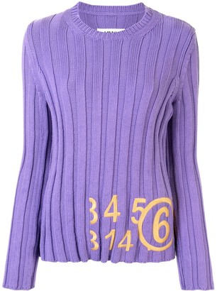 MM6 MAISON MARGIELA Embroidered Number Print Rib-Knit Top