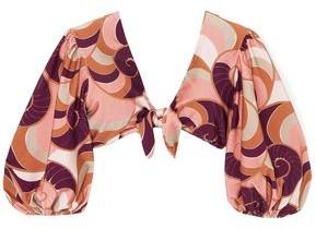 Adriana Degreas Nautilus Tie-front Printed Bikini Top