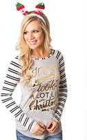 Susenstone Women Fashion Stripe Round Collar Cotton Long Sleeve Casual Tops (2XL)