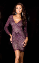 Scala 47693 V-Neck Beaded Embellished Short Dress