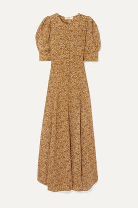 DÔEN Laurel Asymmetric Floral-print Silk Crepe De Chine Maxi Dress - Mustard