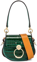 Chloé Small Tess Embossed Croc Shoulder Bag in Woodsy Green | FWRD
