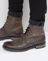 Asos Lace Up Boots With Military Strap Detail In Brown Leather