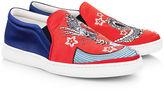Joshua Sanders Red & Navy Dragon Slip-On Sneakers