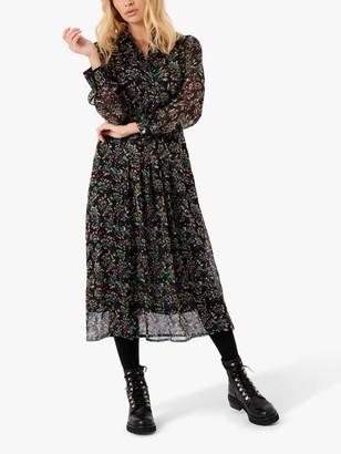Brora Painterly Chiffon Silk Floral Midi Dress, Multi