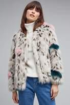 Anthropologie Evita Patched Faux Fur Leopard Coat