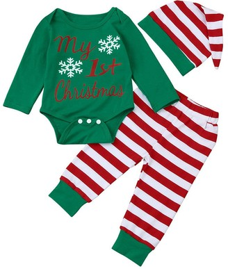 Mingfa.Y Baby Clothes Outfits Clearance Sale for 0-18 Months Baby Christmas Outfits Clothes Mingfa Newborn Infant Baby Girl Boy Romper Tops+Striped Pants+Hat 3Pc Set(Green 12-18Months)