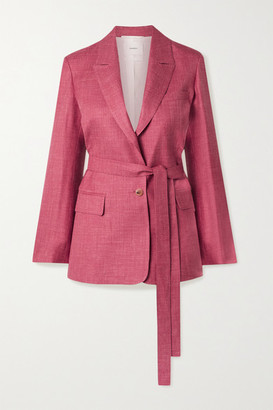 CASASOLA Net Sustain Oscar Belted Organic Wool, Silk And Linen-blend Blazer - Pink