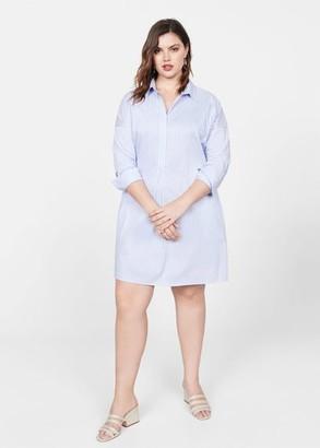 MANGO Violeta BY Cotton shirt dress sky blue - 10 - Plus sizes