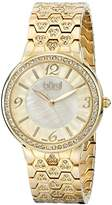 Burgi Women's BUR115YG Swiss Quartz Crystal Accented Mother-of-Pearl Guilloche Yellow Gold Bracelet Watch