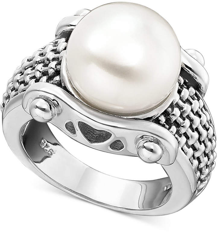 Honora Style White Freshwater Pearl Braid-Band Ring in Sterling Silver (11mm)