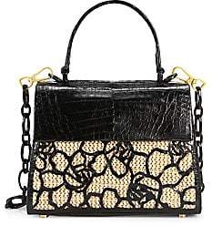 Nancy Gonzalez Women's Lexi Floral Crocodile & Raffia Top Handle Bag