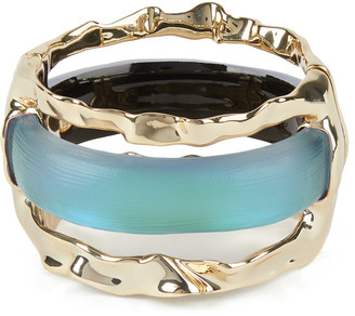 Alexis Bittar Crumpled Metal Stacked Hinge Bracelet