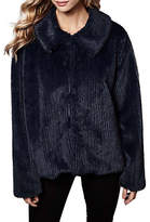 Yumi Faux Fur Stripe Jacket, Dark Navy