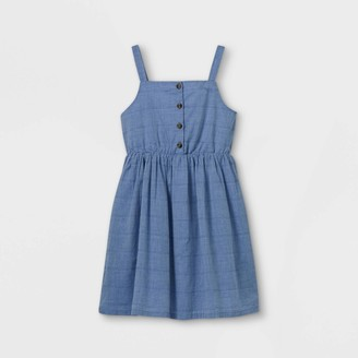 Cat & Jack Girls' Button-Front Chambray Sleeveless Woven Dress - Cat & JackTM