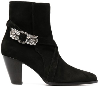 Giannico Embellished Buckle Pointed Toe Boots