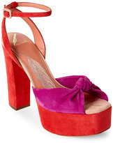 Brian Atwood Pink & Orange Gabby Platform Block Heel Sandals