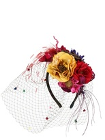 Grevi - Multicolor Roses Headband With Veil