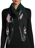 McQ by Alexander McQueen Swallow Swarm Square Modal Scarf, Evergreen