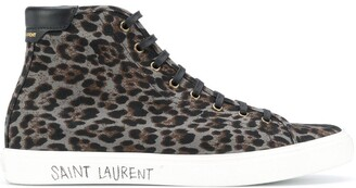 Saint Laurent leopard print Malibu high-top sneakers