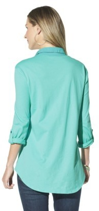 Merona Women's 3/4 Sleeve Knit To Woven Tee - Assorted Colors