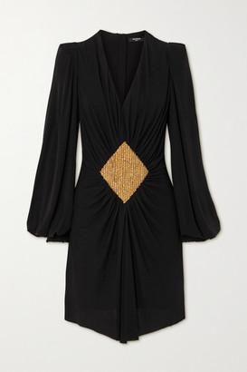 Balmain Gathered Embellished Jersey Mini Dress - Black