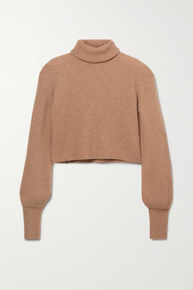 Reformation Luisa Cropped Ribbed Recycled Cashmere-blend Turtleneck Sweater - Camel