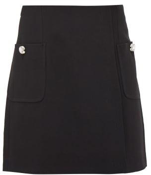 No.21 No. 21 - Crystal-button Crepe Mini Skirt - Black