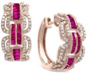 Effy Certified Ruby (1-1/4 ct. t.w.) & Diamond (3/4 ct. t.w.) Hoop Earrings in 14k Rose Gold