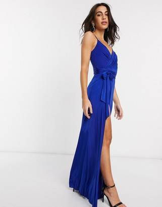 Goddiva v neck maxi dress with tie waist in blue