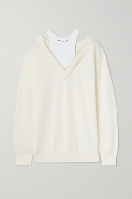 alexanderwang.t Layered Merino Wool And Stretch-cotton Jersey Sweater - White